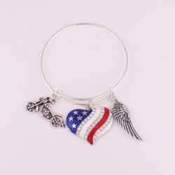 Motorcycle Heart American flag wing Charm Stainless Steel Adjustable Wire Bangle Inspire Message Pendant Bracelet