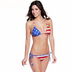 Vintage Bikini Set American Flag Two Pieces Bikini