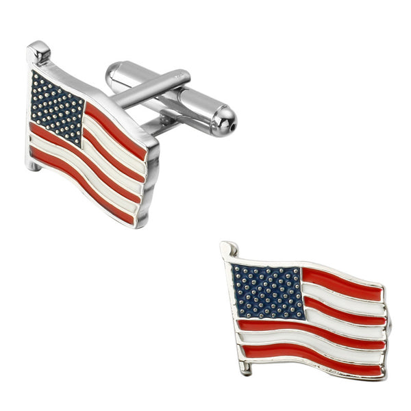 American flag cufflinks Silver plated USA flag Antique Vintage Cuff links for men and women.
