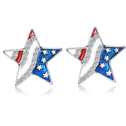 1 Pair Lady's Simple Star Shaped Crystal American Flag Stud Earrings