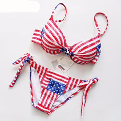 CloseUp Bikini American Flag Print Halter Swimwear Push UP Bathing Suit