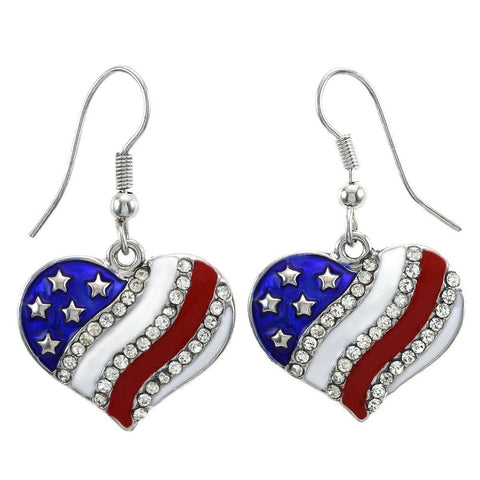 Dangle Hook Earring Heart Rhinestone Patriotic 4th of July Independence Day
