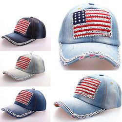 Women Jeans Denim Cap American Flag Rhinestone Baseball Bling Hat Adjustable