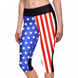 7 point pants women American flag blue and red digital print leggings