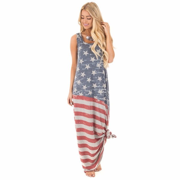 American Flag Print O - Neck Sleveless Independence Day Maxi Straight Dress