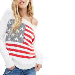 Women cute American flag print knitted sweaters long sleeve warm pullover