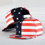 USA Flag Snapback Caps , American Flag Flat Hat , Star With Striped Mens Sports Hats Lady'S Adjustable Baseball Hats , Red Black