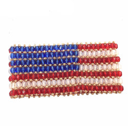 American flag beads high quality jewelry stretch bracelet
