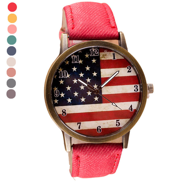 2017 Ladies American Flag Leather Band Quartz Wristwatches