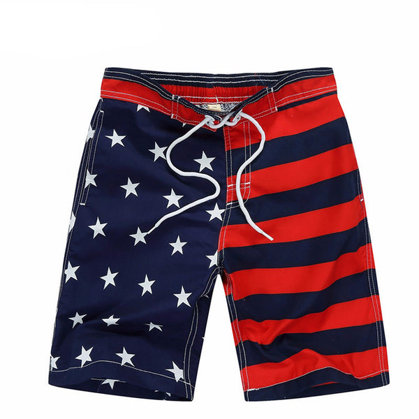 New 2017 Beach Shorts For Boys Surf Board Short Custom Swim Trunks Pentagram Kids Sport Wear American Flag 7-14yrs Board Shorts