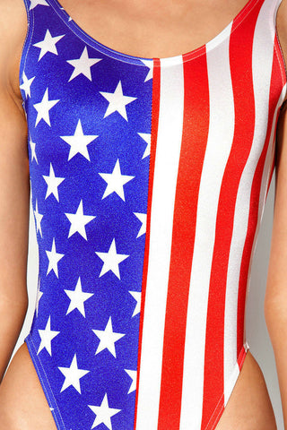 Womens Swimwear Sexy Thong One Piece American Flag Swimsuit