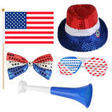 4th of July Patriotic Party Set. Comes With Sequin Blinking Hat & Horns & Bow Tie & Shutter Shading Glasses & Flag