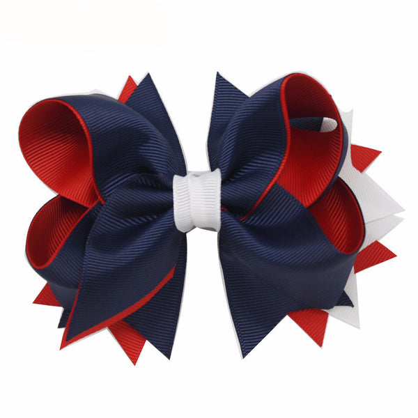 1PC 5Inches Girls Hair Pin Bows Navy Red White