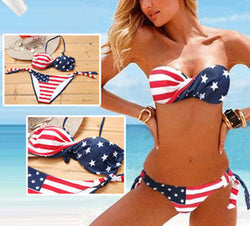 American Flag Fringe Striped Halter Hot Set Push up Swimsuit