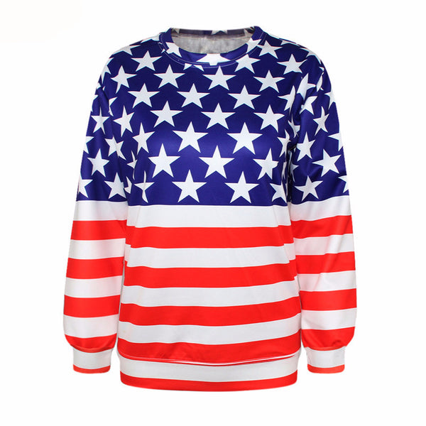 Women's Long Sleeve Knitted Hoodies Casual Sweatshirt American Flag Digital Print