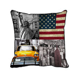 American flag New York City printed customized home decorative grey cushion.