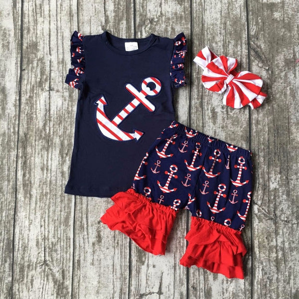 July 4th Summer outfit girls clothes navy res kids anchor clothes print shorts sleeveless matching accessories bow headband set
