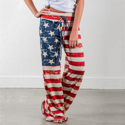 Women American Flag Drawstring Wide Leg Oversize Soft Pants