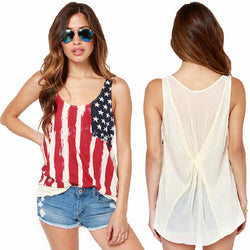 Casual T Shirt Women Summer American Flags Print Top T-shirt