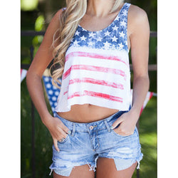 Summer Tops Vintage Stripe Stars Tank Top Fashion Unique O-neck Crop Tops