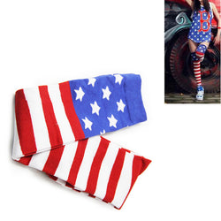 Women Over The Knee Socks American Flag  Striped Thigh High Socks Cotton Stars and Stripes