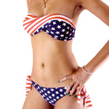 Hot sale American flag PUSH UP swimwear women swimsuit bikini Set