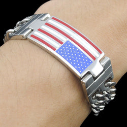 American Flag Double Link Charin Chain Men Stainless Steel Bracelet