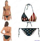 Vintage Bikini Set USA Flag Striped Star Beach Retro Bikini Two Piece