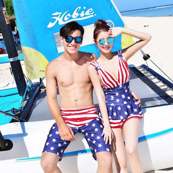 Couple Swimwear Skirt Womens One Piece Swimsuits Men Beach Shorts
