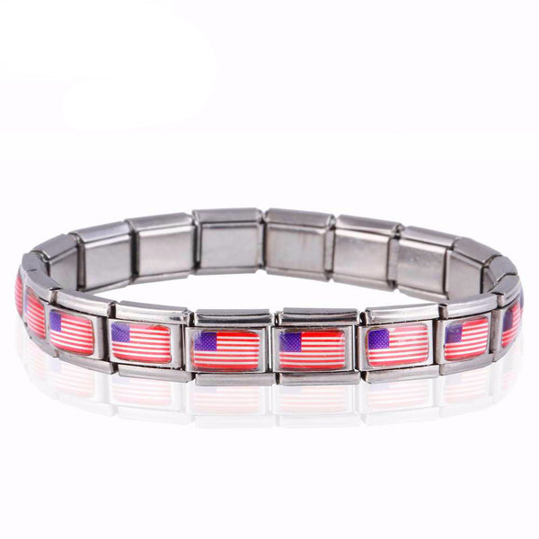 New Design Simple Stainless Steel Bracelets American flag Bracelets & Bangle Fashion Jewelry