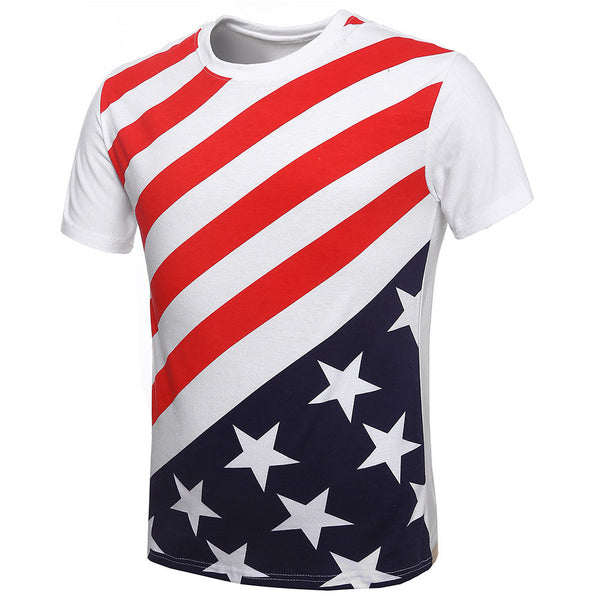 Hot Selling Men summer short sleeves Stripe T Shirt USA american Flag Pattern O-neck Casual T-shirt Men clothing