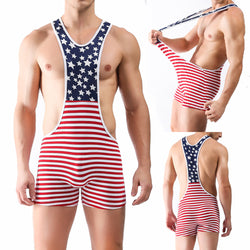 Male underwear soft milk silk American flag printed pants waist men wrestling Jumpsuit stripe mosaic