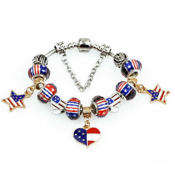 Bracelets Charms American Flags Star Loveheart Beads Fits European Bracelets & Bangles DIY Jewelry Gift