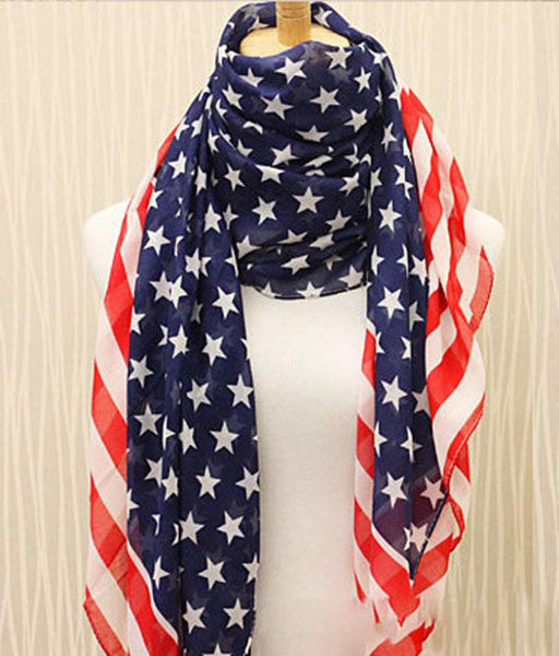 New Arrival Beauty Chiffon Printing American Flag Scarf Wraps  Accessories