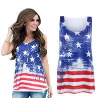 2017 Women's Summer American US Flag T-Shirt Round Sleeveless V Neck