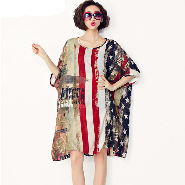 Chiffon Long Blouse Summer American Flag Print