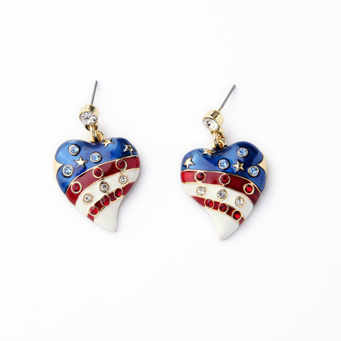 Lady's Simple Heart-Shaped Pendant American Flag Shiny Pave Crystal Enamel Golden Silver Drop Earring Fine Jewelry