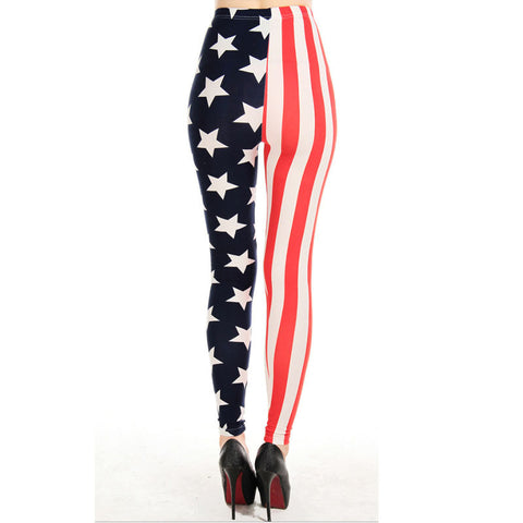 American Flag Stars and Stripes Stitching Leggins