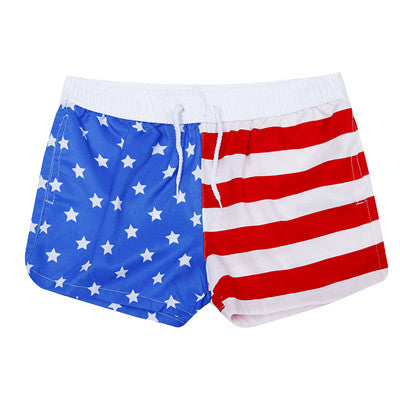 New! American Flag Shorts Women Summer Causal Short Shorts for Couples Red Stripe Stars Shorts