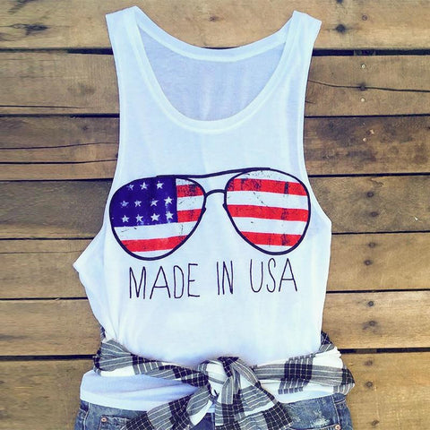 Women Made In USA American Flag Glasses Tank Top