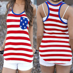 Summer Style Cotton Harajuku Tee Patriotic Sleeveless Print