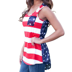 Summer Women Long Striped Vest Cotton Sleeveless Top Tank American Flag Front Pocket Lady Beach Vest Blue Red
