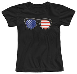 SUNGLASSES AMERICAN FLAG USA WOMENS FITTED COTTON T-SHIRT *S, M, L, XL Female Fashion Cotton Hip Hop T Shirt