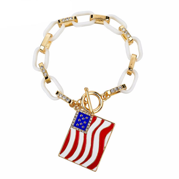 Charm Bracelets For Women Gold Color Link Chain Crystal Bangles