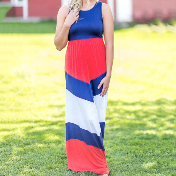 Red Blue White Color Block Patchwork Sleeveless Tank Floor-Length
