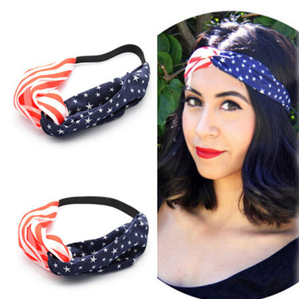 New American Flag Turban Headband 4th of July USA Headbands Headwrap Fashion Elastic Hair Bands Bandana Turban Hair Accessories