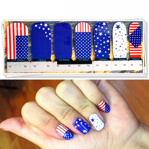 M-theory Full Nails Wraps Stickers I Love America USA Flags DIY 3D Nails Arts Manicure Polish Gel varnish Decals Stickers