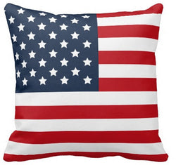 Hot Sale Patriotic American Flag Red White Blue Square Zippered Standard Throw Pillowcase Comfortable Durable Pillow Cover