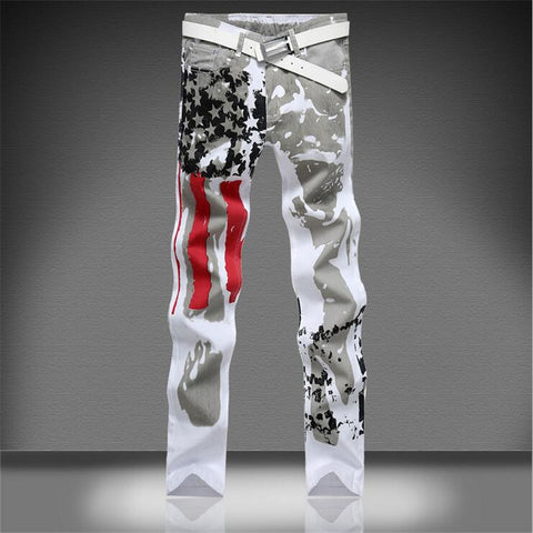 2017 new American flag painted casual denim jeans