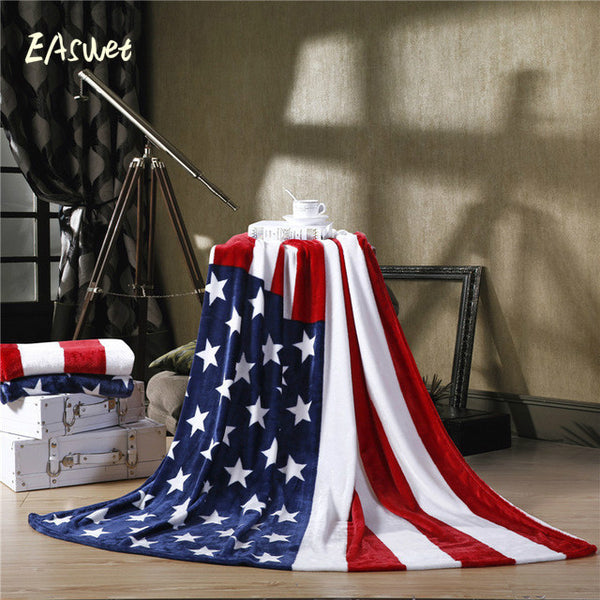 Multifunction Flag Plaid flannel fleece soft blanket